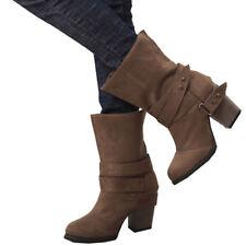Damen Winterstiefel Schuhe Stiefeletten Blockabsatz Schlupfstiefel Warme  Boots 8d1fea699d