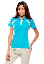Women's Oakley Golf Slice S/S Polo Shirt White Bright Aqua Blue Limeade Yellow