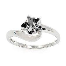 Bijoux Bague T56 Etoile Diamant Cz Noir 8mm Argent Massif 925 Rhodie