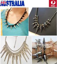 NWT Jewelry Woman Punk Spike Multi Chain Choker Necklace Bracelet Hair Band JN72