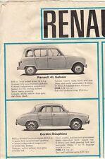 Renault 1964-65 UK marché dépliant plaquette commerciale 4 Dauphine Gordini 8 Caravelle