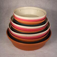 """Plant Saucers Sturdy Plastic Reusable (8"""" 10"""" 12"""" Diameter) 5 Decorator Colors"""