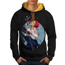 Sudadera con capucha contraste hombres Chica Anime Samurai S-2XL Nuevo | wellcoda
