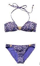 NEU H&M Bandeau Neckholder Bikini LEO lila blau Gold LEO Muster GR 34
