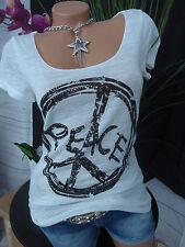 Rick Cardona Shirt Bluse Gr. 34 - 46 Weiß mit Peace Zeichen (675) Pailletten