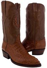 Mens Cognac Crocodile Skin Leather Head Cut Cowboy Boots Western J Toe