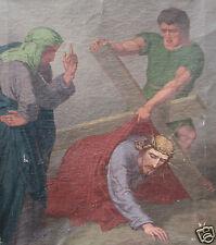 ANTIQUE CIVIL WAR ERA CATHOLIC OIL PAINTING DURWARD DORWARD NEAR BARABOO WI WOW