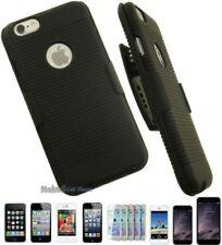 Schwarz Gummi Hartschale Case + Gürtelclip mit / Ständer für Apple Iphone