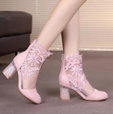 Ladie Lace Mesh Floral Diamante Ankle Boots Block Heel Party Bridal Sandal Shoes