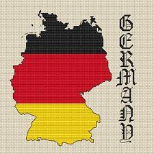 "Germania Map & bandiera Cross Stitch Design (15x15cm, 6x6 "", kit o grafico, 14hpi)"