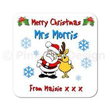 Personalised Merry Christmas Teacher Wooden Coaster Gift Santa Reindeer Snowman
