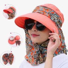 Women Foldable Wide Brim Visor Anti-UV Protector Beach Sun Cap Hat Neck Flap AU