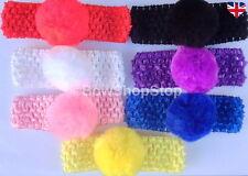 Furry Pom Pom Hair Bow Crochet Headband Red White Pink Black Purple Yellow