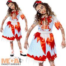 Zombie Dorothy Girls Halloween Fancy Dress Fairytale Horror Childs Kids Costume