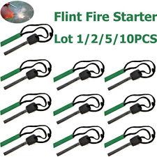 """Lot 2 3/4"""" Long Ferro Rod Ferrocerium Fire Starter & Green Flint Scraper Camping"""