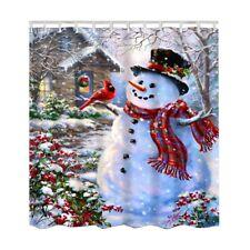 12 Hooks Christmas Decor Waterproof Bathroom Fabric Shower Curtain Snowman Santa