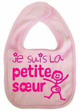 "Baby Sister Bib ""Je Suis La Petite Soeur"" French Little Sister Feeding Bib"