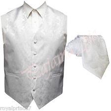 WHITE XS to 6XL Paisley Tuxedo Suit Dress Vest Waistcoat & Neck tie Wedding
