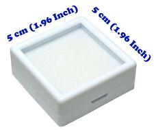 FREE SHIP TOP GLASS GEMSTONE JEWELRY COIN DISPLAY SHOW WHITE CASE JAR BOX 5x5 cm