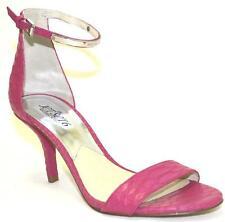 Mujer Zapatos Michael Kors Kristen Medio Vestido Sandalia Cuero Realzado Fucsia