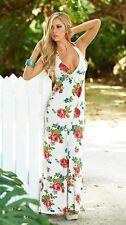 amRoseM Espiral Blanc Pour Femmes Floral Dos Nu Longue Robe d' Eté - UK 12/14