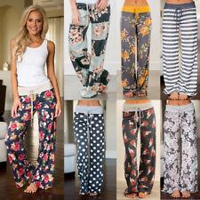 Womens Floral Print Palazzo Trousers Ladies Wide Leg Flared Loose Pants Leggings