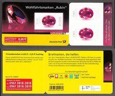 """Bund Markenheftchen 87 ** Wohlfahrt 2012 """"Rubin""""  10 x 2909 selbstklebend"""