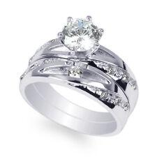 JamesJenny Ladies 10K White Gold 1.0ct Round CZ Fancy Wedding Ring Size 4-10