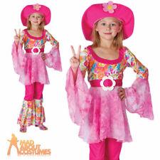 Child Hippy Diva Costume Girls Hippie 1960s 1970s Woodstock Fancy Dress Outfit