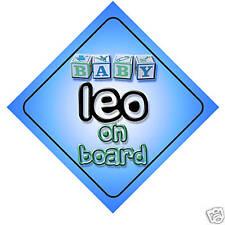 Baby Leo On Board Car Sign New Boy/Birthday Gift