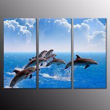 Blue Ocean Jumping Dolphin Animals Canvas Art Print Wall Home Decor 3 Panels