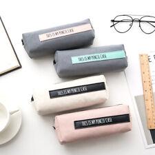 Student Canvas Pencil Case Makeup Pouch Cosmetic Pencil Bag Zip Fasten UK