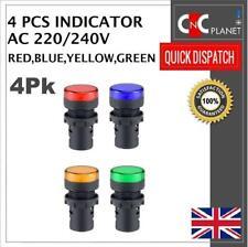 22mm Panel Hole Mount LED Light 28mm Pilot Indicator Signal Warning 220V AC 4Pcs