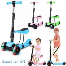 3-in-1 LED Kinderroller Scooter 3-Räder Cityroller verstellbare Höhe mit Sitz