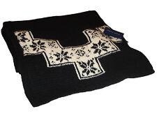 Ralph Lauren Blue Label Polo Black Floral Lambs Wool Scarf