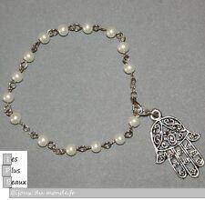 Bracelet STRAND Hamsa KHAMSA MAN OR WOMAN beads CREAM Pearl NEW