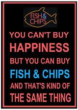 Vous ne pouvez pas acheter le bonheur vous pouvez acheter Fish & Chips Métal Signe Plaque Fun Chip Shop