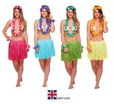5 Piece GRASS SKIRT & FLOWER GARLANDS SET Hawaiian Tropical Fancy Dress Party UK