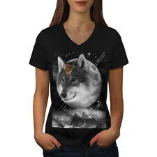 Wolf Cosmos Moon Space Women V-Neck T-shirt NEW   Wellcoda