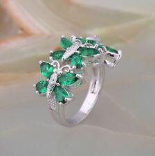 Ladies Stunning Emerald 18ct White Gold GF Wedding Gift Gemstone Ring Size M-Q