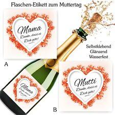 Aufkleber Sektflasche Geburtstag Geschenk Herz Fest Muttertag Danke Mutti Mama