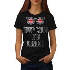 Wellcoda Keep Calm UK Flag Womens T-shirt, England Casual Design Printed Tee