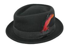 Unisex Diamond Crown Trilby Quality 100% Wool Felt Black Porkpie Pork Pie Hat