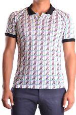 Galliano Men's MCBI130097O Multicolor Linen Polo Shirt