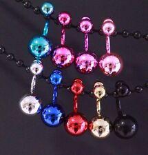 Disco Ball Stud Earrings Plastic Metallic Bulky 1 - 9 Pairs Large Round Dangle