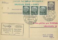 SARRE 1958 Vol Hélico SABENA Bruxelles-Paris TYPE 2