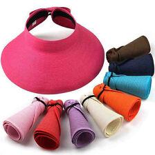 Women Foldable Wide Brim Sun Visor Hat Roll Up Beach Travel Summer Straw Cap