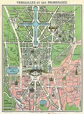 1920 Map Paris Versailles Monuments Vintage Wall Poster Home School Office