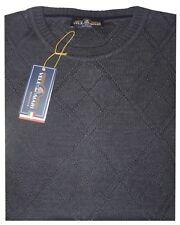 MAGLIA UOMO lana rasata Taglie Forti 4XL 5XL 6XL girocollo calibrata grigio