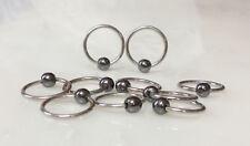10pcs Hematite Captive Bead Rings 10g,12g,14g,16g,18g Wholesale Lot Body Jewelry